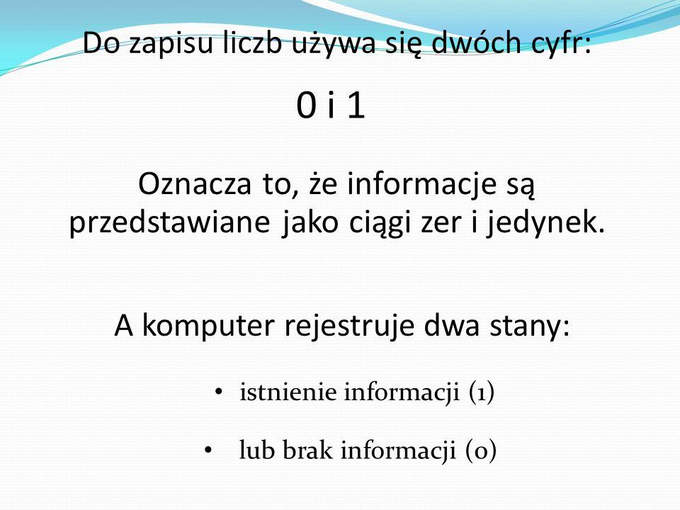 Do zapisu liczb używa się dwóch cyfr: 0 i 1 Oznacza to, że informacje są przedstawiane jako ciągi zer i jedynek. A komputer rejestruje dwa stany: istn