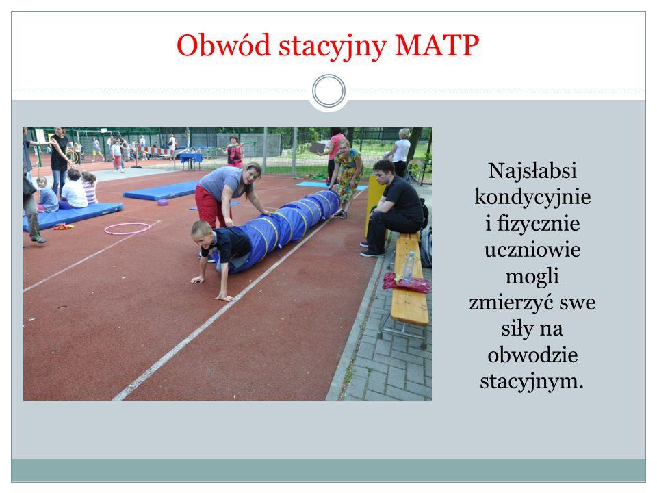 Obwód stacyjny MATP Najsłabsi kondycyjnie i fizycznie uczniowie mogli zmierzyć swe siły na obwodzie stacyjnym.