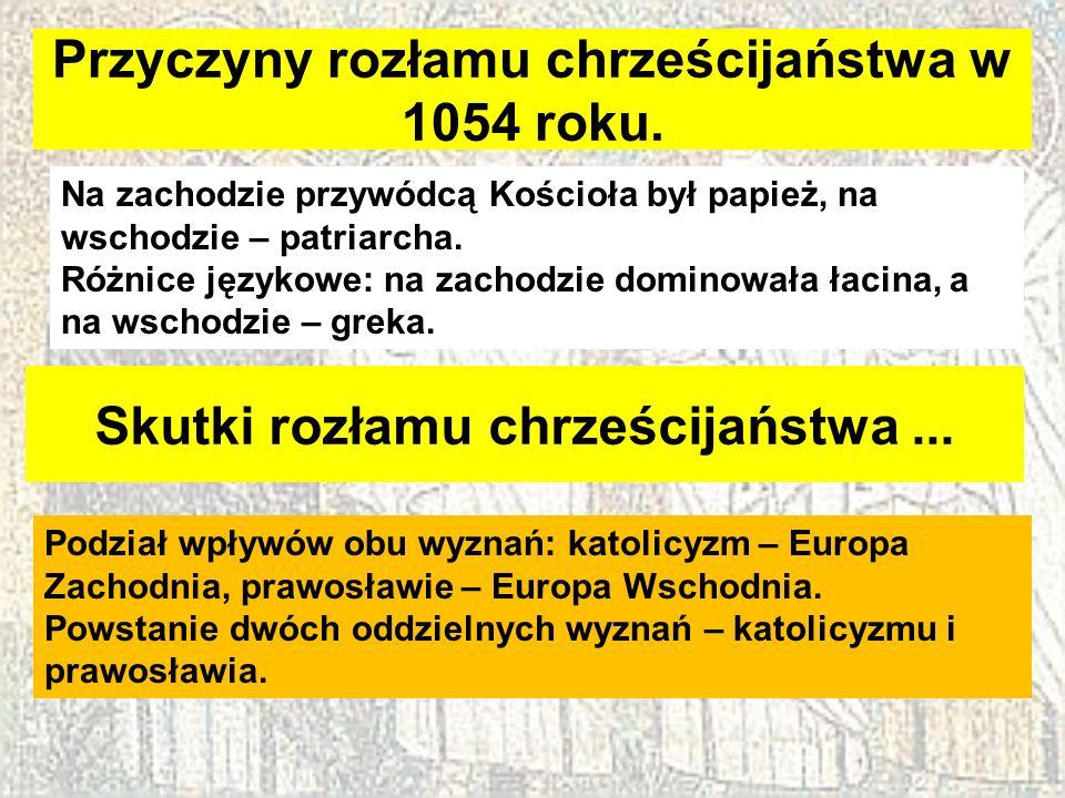 Przyczyny rozłamu chrześcijaństwa w 1054 roku. Na zachodzie przywódcą Kościoła był papież, na wschodzie – patriarcha. Różnice językowe: na zachodzie d