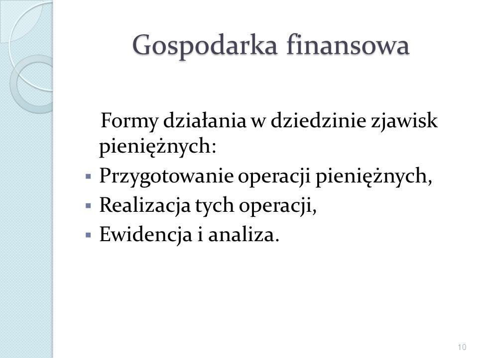 Gospodarka finansowa Formy działania w dziedzinie zjawisk pieniężnych: Przygotowanie operacji pieniężnych, Realizacja tych operacji, Ewidencja i anali