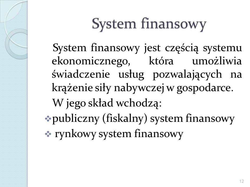 System finansowy jest częścią systemu ekonomicznego, która umożliwia świadczenie usług pozwalających na krążenie siły nabywczej w gospodarce. W jego s
