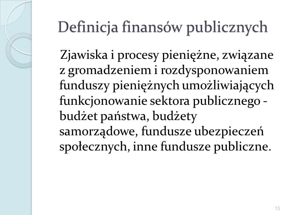 Definicja finansów publicznych Zjawiska i procesy pieniężne, związane z gromadzeniem i rozdysponowaniem funduszy pieniężnych umożliwiających funkcjono