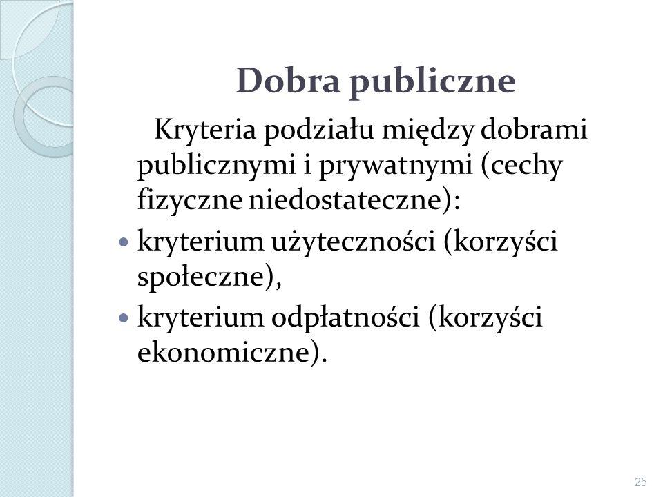 Dobra publiczne Kryteria podziału między dobrami publicznymi i prywatnymi (cechy fizyczne niedostateczne): kryterium użyteczności (korzyści społeczne)
