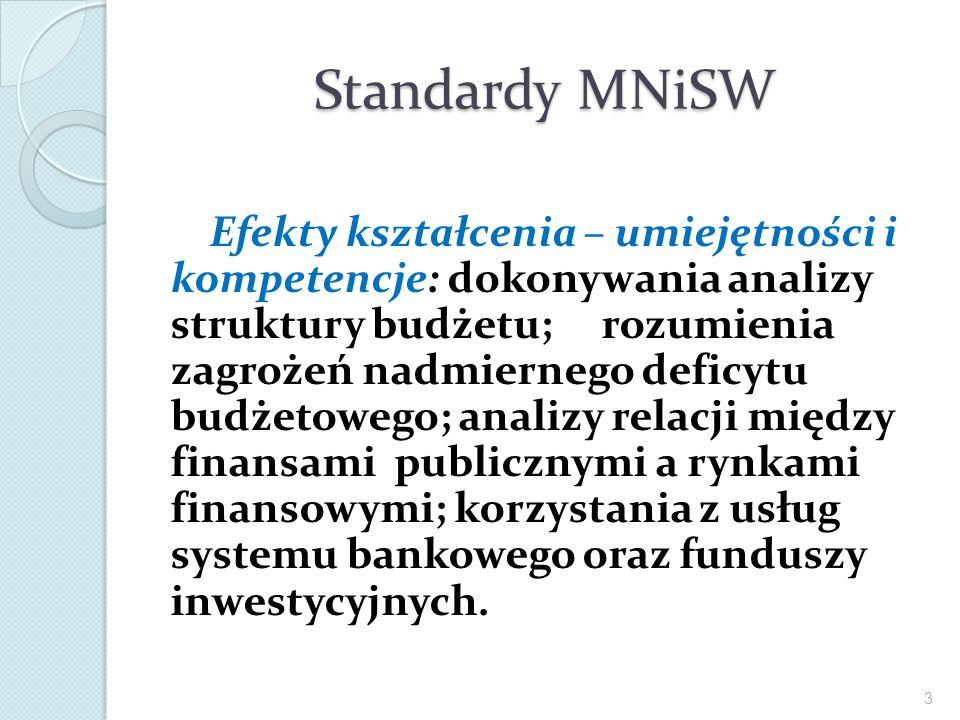 Standardy MNiSW Efekty kształcenia – umiejętności i kompetencje: dokonywania analizy struktury budżetu; rozumienia zagrożeń nadmiernego deficytu budże