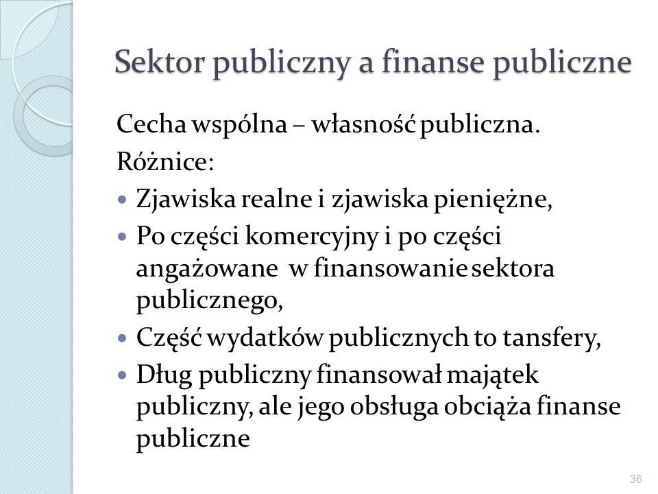 Sektor publiczny a finanse publiczne Cecha wspólna – własność publiczna. Różnice: Zjawiska realne i zjawiska pieniężne, Po części komercyjny i po częś