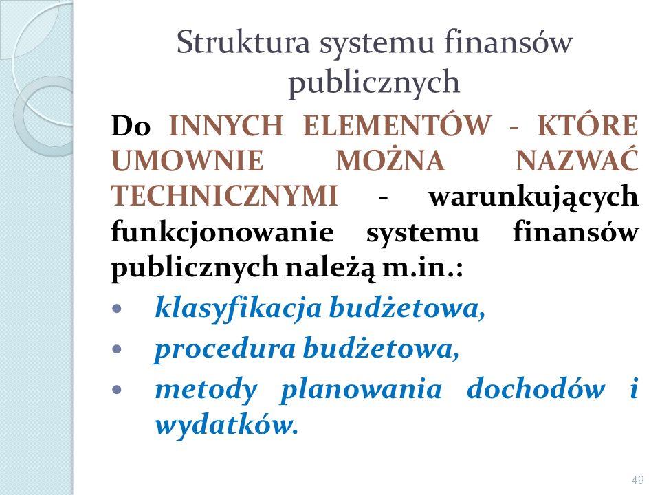 Struktura systemu finansów publicznych Do INNYCH ELEMENTÓW - KTÓRE UMOWNIE MOŻNA NAZWAĆ TECHNICZNYMI - warunkujących funkcjonowanie systemu finansów p