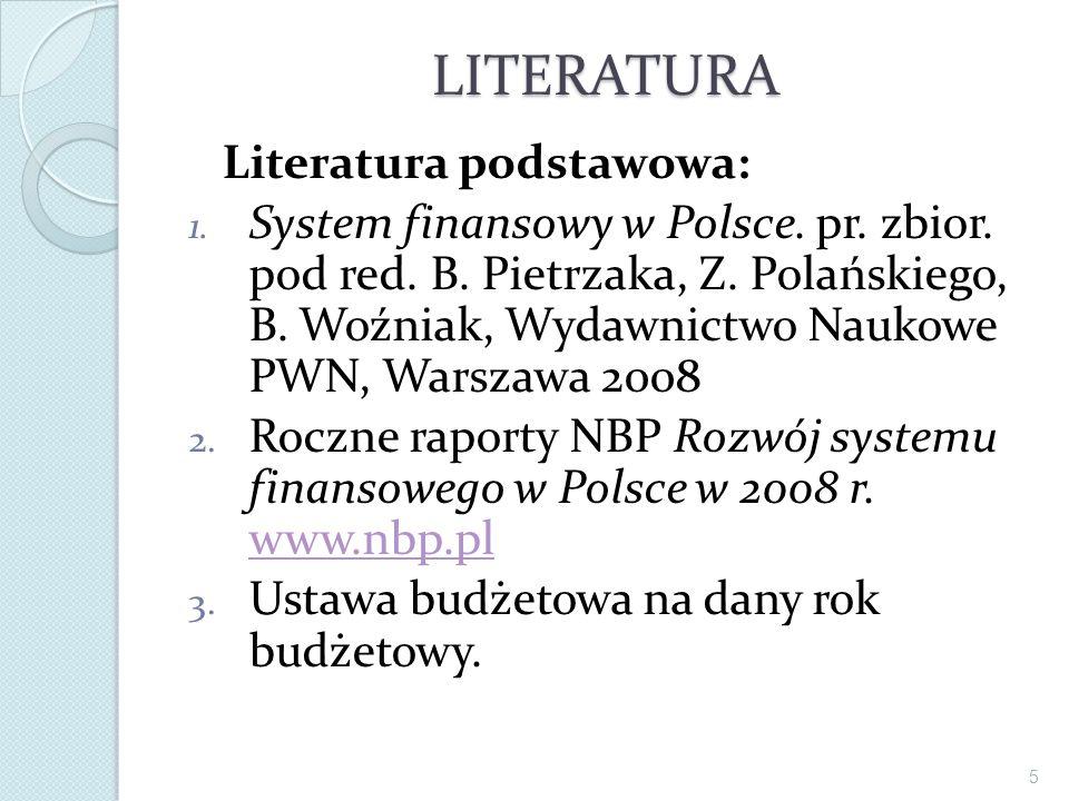 LITERATURA Literatura podstawowa: 1. System finansowy w Polsce. pr. zbior. pod red. B. Pietrzaka, Z. Polańskiego, B. Woźniak, Wydawnictwo Naukowe PWN,