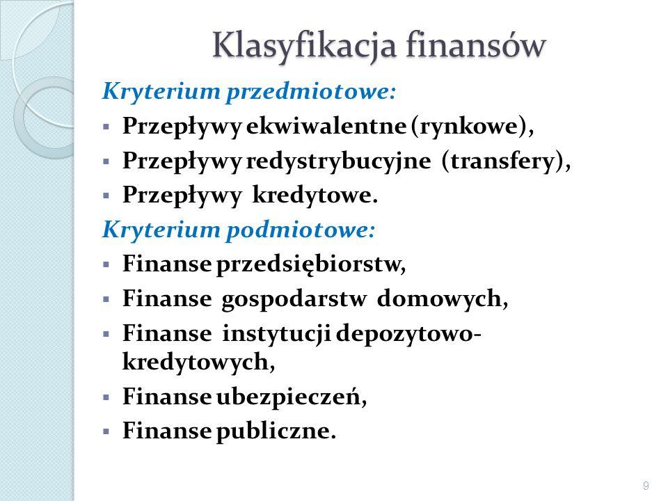 Klasyfikacja finansów Kryterium przedmiotowe: Przepływy ekwiwalentne (rynkowe), Przepływy redystrybucyjne (transfery), Przepływy kredytowe. Kryterium