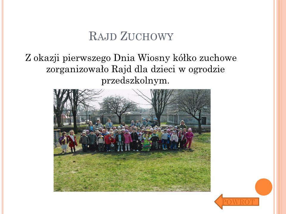 R AJD Z UCHOWY Z okazji pierwszego Dnia Wiosny kółko zuchowe zorganizowało Rajd dla dzieci w ogrodzie przedszkolnym. POWRÓT