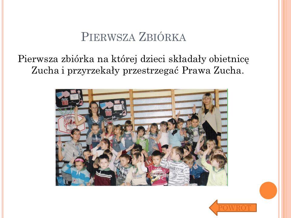 P IERWSZA Z BIÓRKA Pierwsza zbiórka na której dzieci składały obietnicę Zucha i przyrzekały przestrzegać Prawa Zucha. POWRÓT