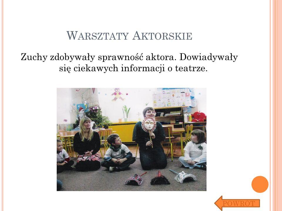 W ARSZTATY A KTORSKIE Zuchy zdobywały sprawność aktora. Dowiadywały się ciekawych informacji o teatrze. POWRÓT