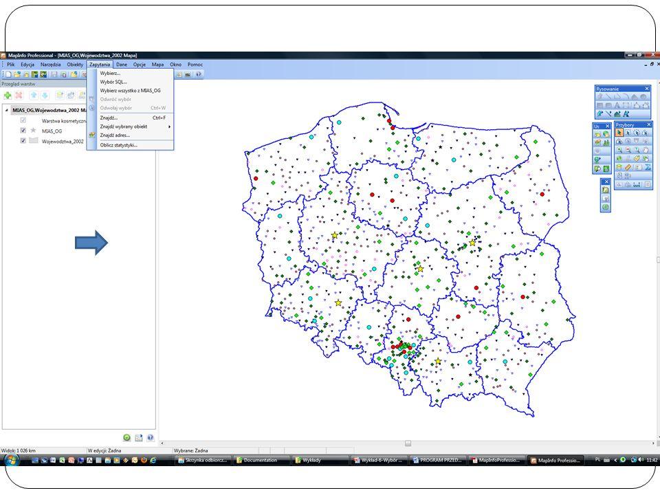 Ze zbioru Odległości wybieramy kolumnę Odległość od Poznania, która jest tu zapisana jako COL3, z listy operatorów wybieramy > i wpisujemy 50, z listy operatorów wybieramy And, z listy kolumn wybieramy Ludność_VI_97, z listy operatorów wybieramy >= i wpisujemy 10000 Wybrane rekordy wstawiamy do zbioru Wybrane_Miasta