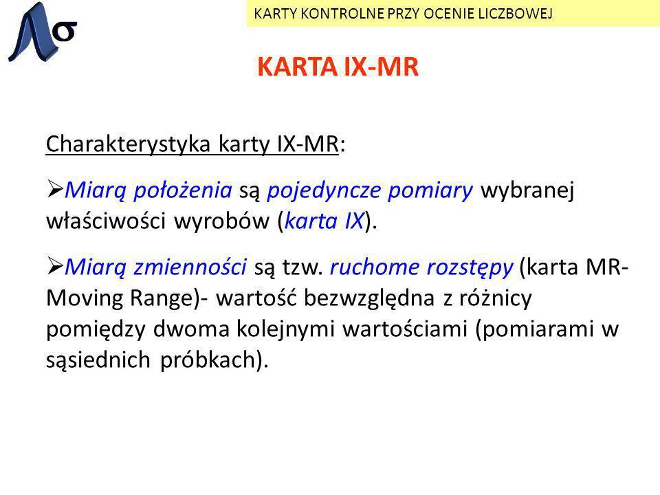 KARTA IX-MR KARTY KONTROLNE PRZY OCENIE LICZBOWEJ Charakterystyka karty IX-MR: Miarą położenia są pojedyncze pomiary wybranej właściwości wyrobów (kar