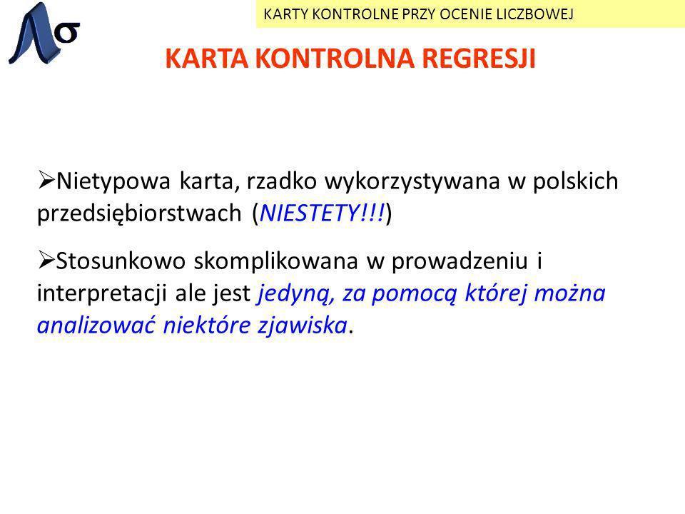 KARTA KONTROLNA REGRESJI KARTY KONTROLNE PRZY OCENIE LICZBOWEJ Nietypowa karta, rzadko wykorzystywana w polskich przedsiębiorstwach (NIESTETY!!!) Stos