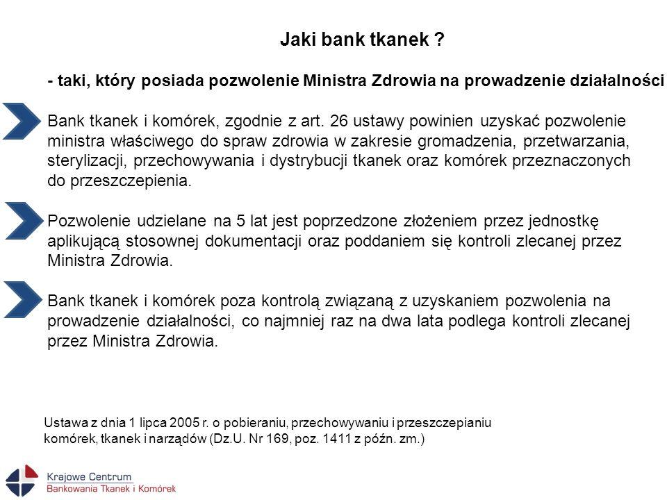 Jaki bank tkanek ? - taki, który posiada pozwolenie Ministra Zdrowia na prowadzenie działalności Bank tkanek i komórek, zgodnie z art. 26 ustawy powin