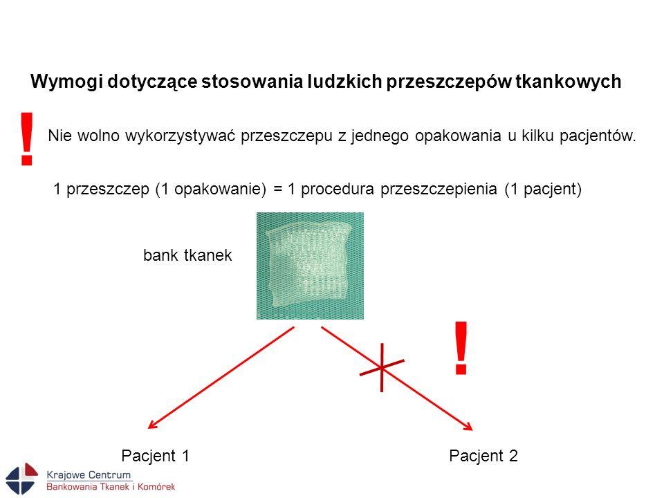 1 przeszczep (1 opakowanie) = 1 procedura przeszczepienia (1 pacjent) Pacjent 2Pacjent 1 bank tkanek ! Nie wolno wykorzystywać przeszczepu z jednego o