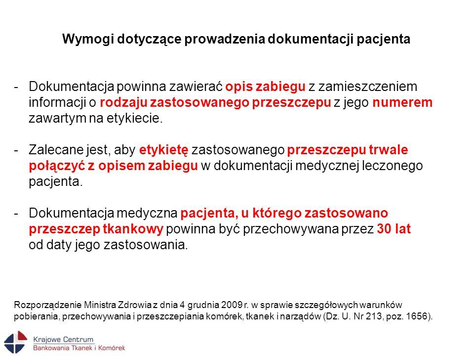 Wymogi dotyczące prowadzenia dokumentacji pacjenta -Dokumentacja powinna zawierać opis zabiegu z zamieszczeniem informacji o rodzaju zastosowanego prz