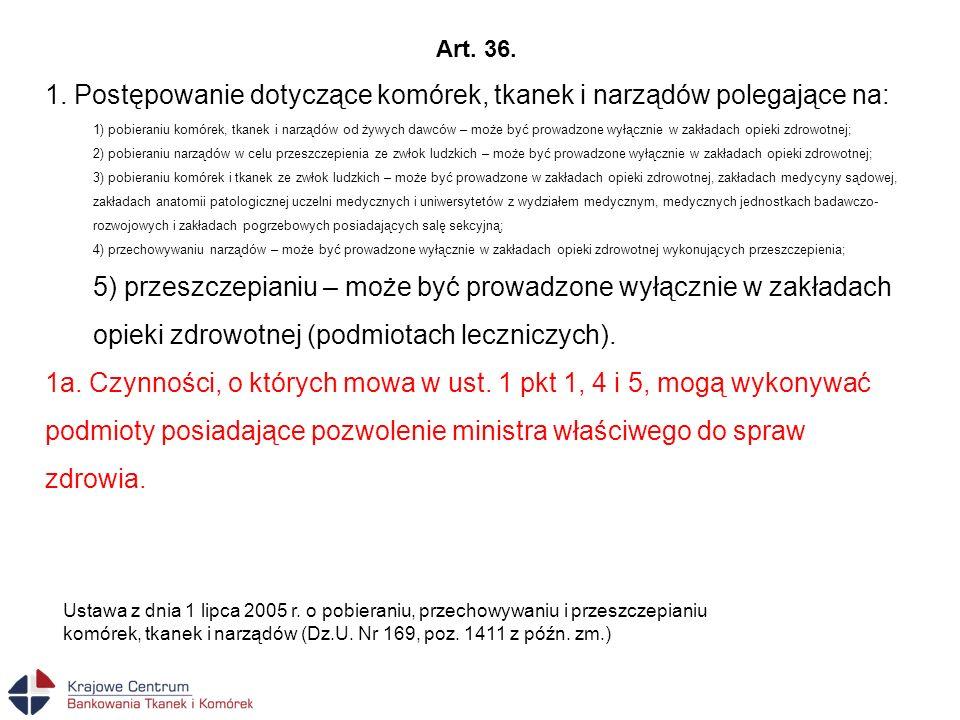 Art. 36. 1. Postępowanie dotyczące komórek, tkanek i narządów polegające na: 1) pobieraniu komórek, tkanek i narządów od żywych dawców – może być prow