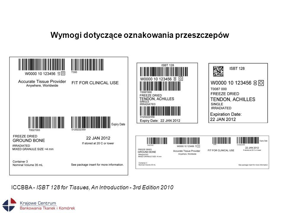 Wymogi dotyczące oznakowania przeszczepów ICCBBA - ISBT 128 for Tissues, An Introduction - 3rd Edition 2010