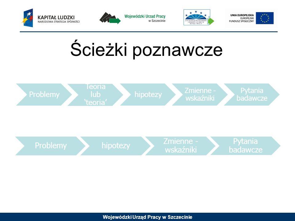Wojewódzki Urząd Pracy w Szczecinie Ścieżki poznawcze Problemy Teoria lub teoria hipotezy Zmienne - wskaźniki Pytania badawcze Problemyhipotezy Zmienn