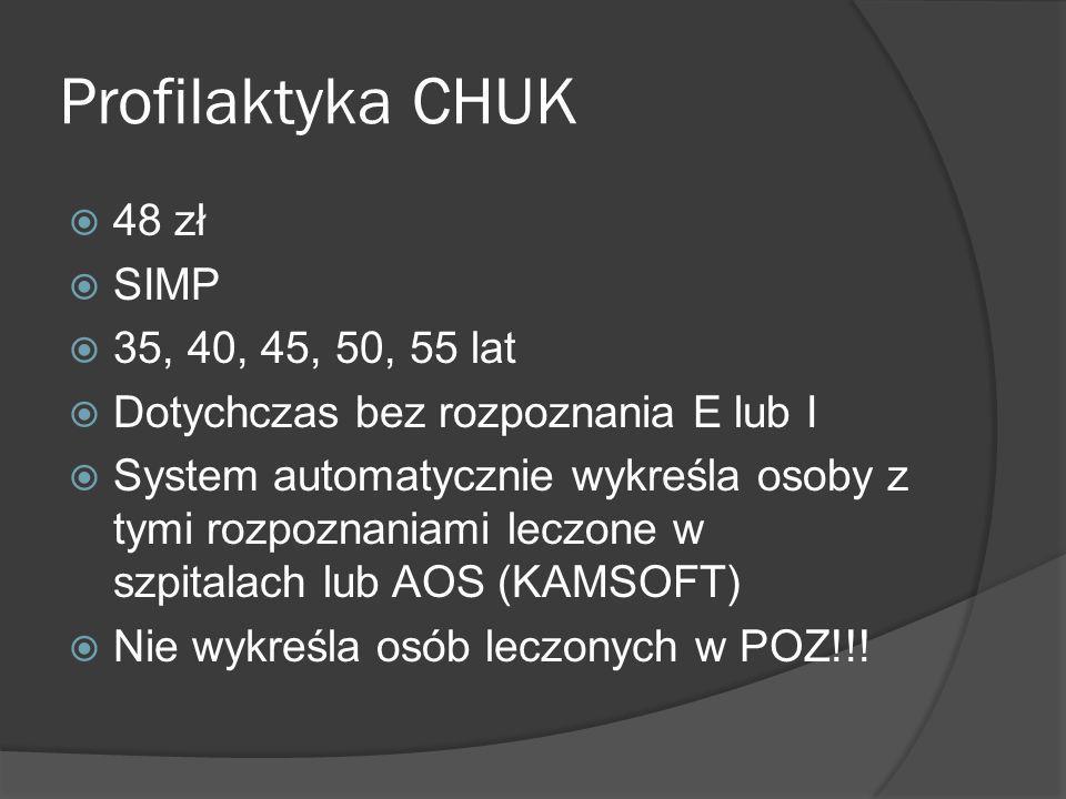 Profilaktyka CHUK 48 zł SIMP 35, 40, 45, 50, 55 lat Dotychczas bez rozpoznania E lub I System automatycznie wykreśla osoby z tymi rozpoznaniami leczon