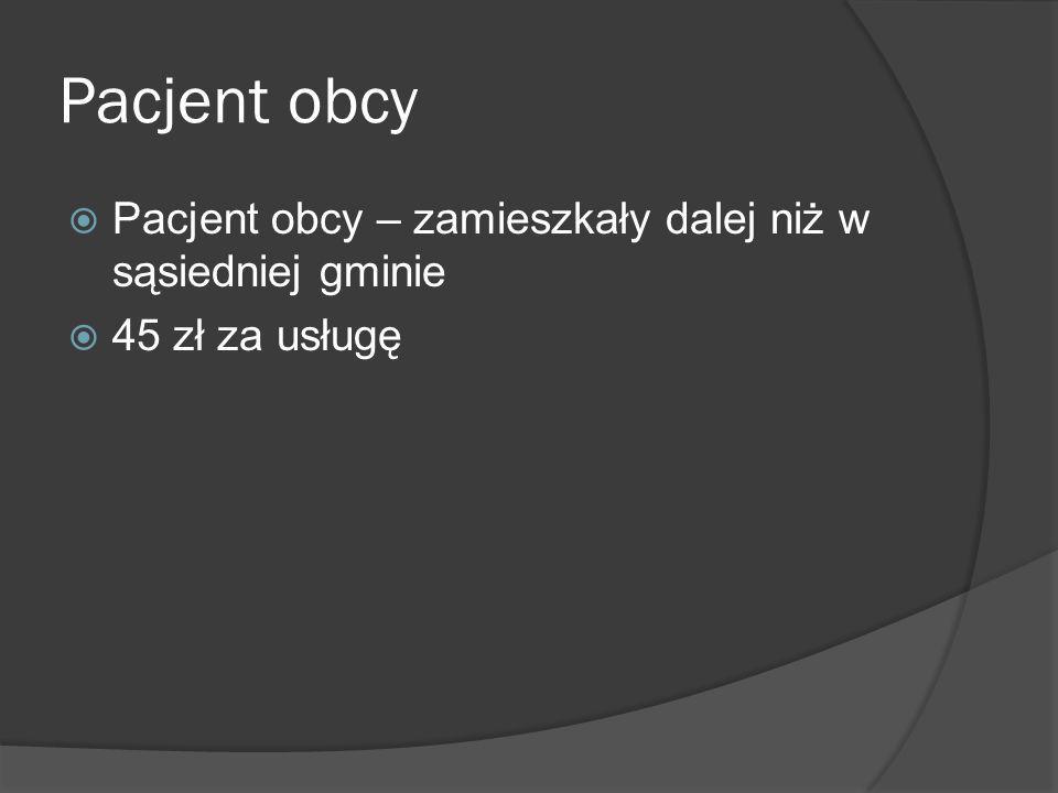 Pacjent obcy Pacjent obcy – zamieszkały dalej niż w sąsiedniej gminie 45 zł za usługę