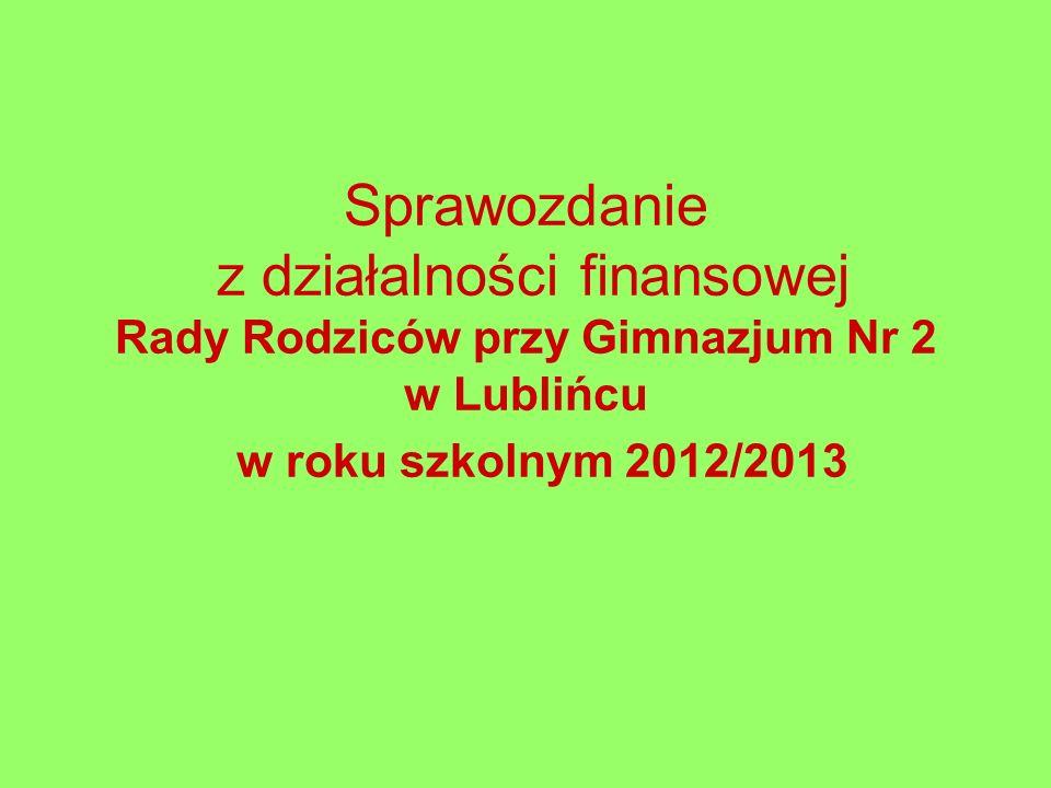 Sprawozdanie z działalności finansowej Rady Rodziców przy Gimnazjum Nr 2 w Lublińcu w roku szkolnym 2012/2013