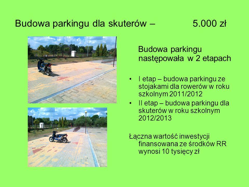 Budowa parkingu dla skuterów – 5.000 zł Budowa parkingu następowała w 2 etapach I etap – budowa parkingu ze stojakami dla rowerów w roku szkolnym 2011/2012 II etap – budowa parkingu dla skuterów w roku szkolnym 2012/2013 Łączna wartość inwestycji finansowana ze środków RR wynosi 10 tysięcy zł