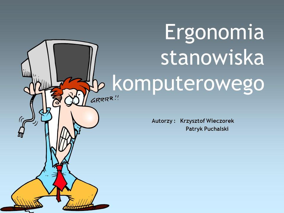 Ergonomia stanowiska komputerowego Autorzy : Krzysztof Wieczorek Patryk Puchalski