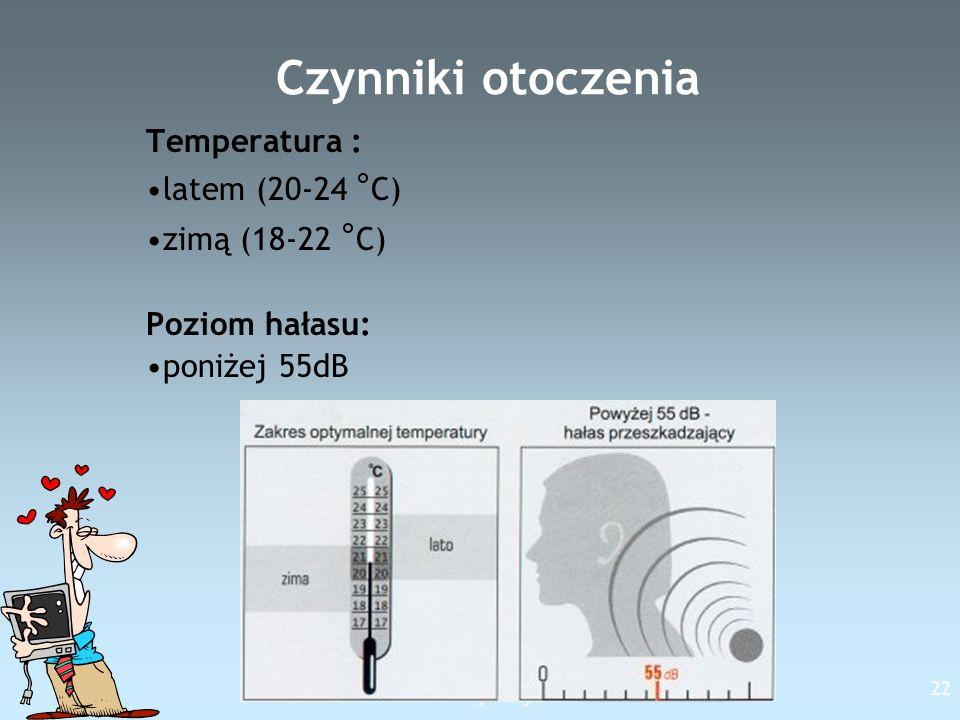 Free Template from www.brainybetty.com 22 Czynniki otoczenia Temperatura : latem (20-24 ° C) zimą (18-22 ° C) Poziom hałasu: poniżej 55dB