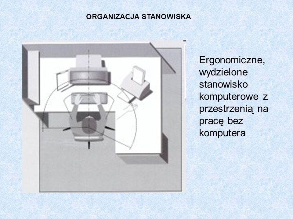 Ergonomiczne, wydzielone stanowisko komputerowe z przestrzenią na pracę bez komputera ORGANIZACJA STANOWISKA
