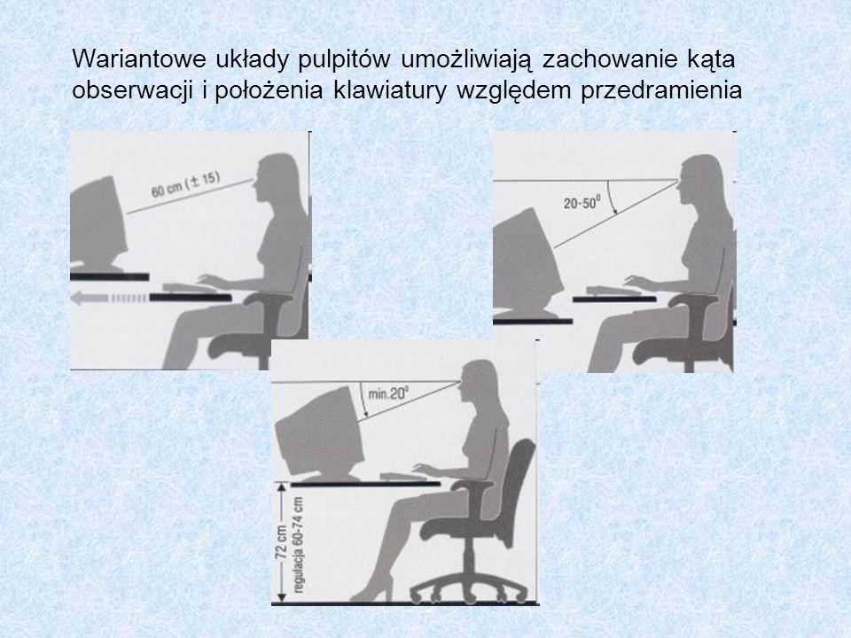 Wariantowe układy pulpitów umożliwiają zachowanie kąta obserwacji i położenia klawiatury względem przedramienia
