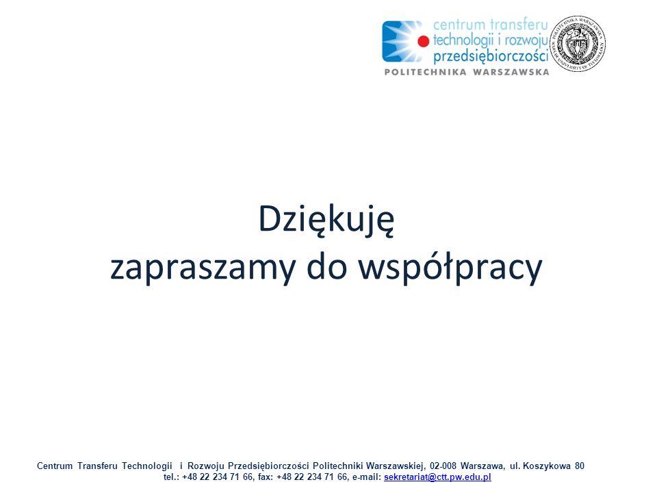 Dziękuję zapraszamy do współpracy Centrum Transferu Technologii i Rozwoju Przedsiębiorczości Politechniki Warszawskiej, 02-008 Warszawa, ul.