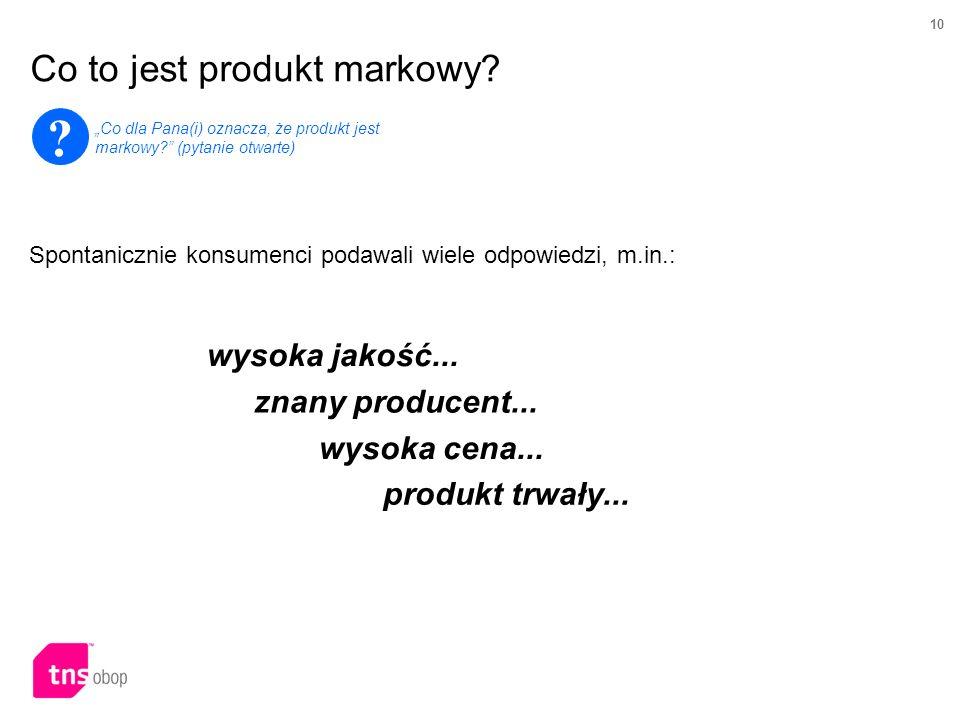 10 Co to jest produkt markowy? ? Co dla Pana(i) oznacza, że produkt jest markowy? (pytanie otwarte) wysoka jakość... znany producent... wysoka cena...