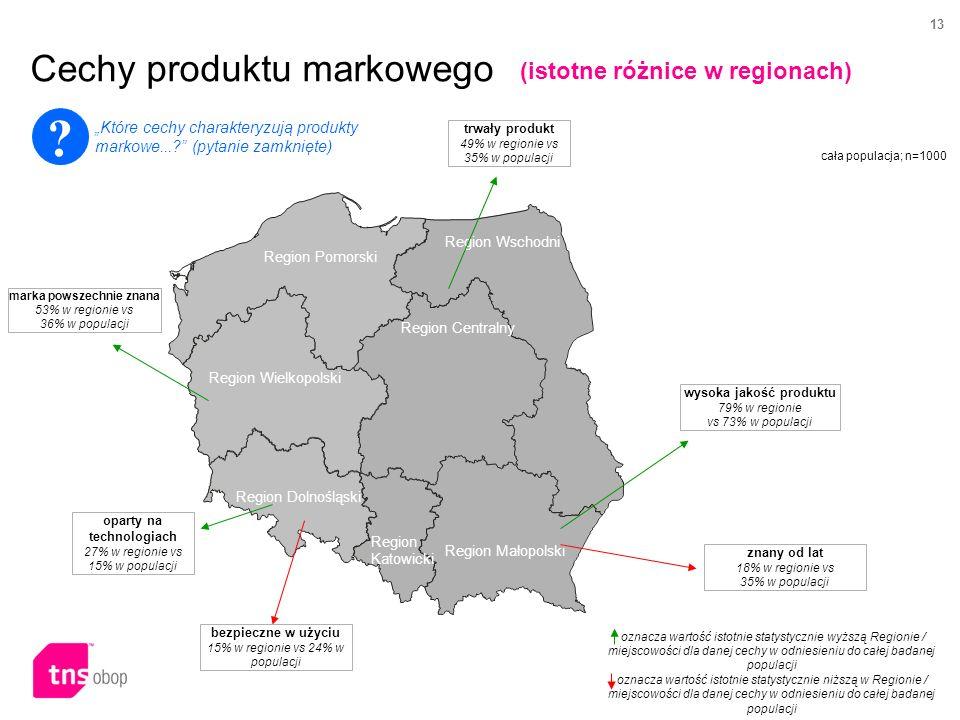 13 Cechy produktu markowego cała populacja; n=1000 Region Wschodni Region Centralny Region Pomorski Region Wielkopolski Region Małopolski Region Katowicki Region Dolnośląski 8,8% Region Pomorski znany od lat 18% w regionie vs 35% w populacji oznacza wartość istotnie statystycznie wyższą Regionie / miejscowości dla danej cechy w odniesieniu do całej badanej populacji oznacza wartość istotnie statystycznie niższą w Regionie / miejscowości dla danej cechy w odniesieniu do całej badanej populacji wysoka jakość produktu 79% w regionie vs 73% w populacji trwały produkt 49% w regionie vs 35% w populacji bezpieczne w użyciu 15% w regionie vs 24% w populacji oparty na technologiach 27% w regionie vs 15% w populacji marka powszechnie znana 53% w regionie vs 36% w populacji .
