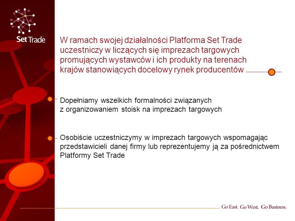 W ramach swojej działalności Platforma Set Trade uczestniczy w liczących się imprezach targowych promujących wystawców i ich produkty na terenach kraj