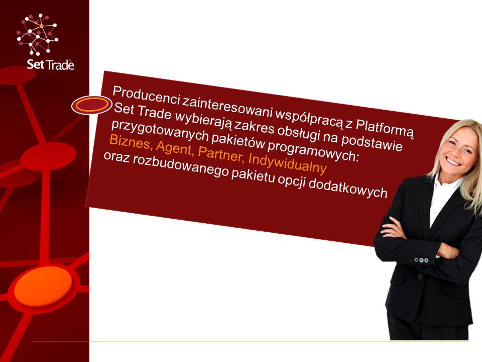 Producenci zainteresowani współpracą z Platformą Set Trade wybierają zakres obsługi na podstawie przygotowanych pakietów programowych: Biznes, Agent, Partner, Indywidualny oraz rozbudowanego pakietu opcji dodatkowych