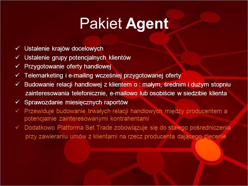Pakiet Agent Ustalenie krajów docelowych Ustalenie grupy potencjalnych klientów Przygotowanie oferty handlowej Telemarketing i e-mailing wcześniej prz