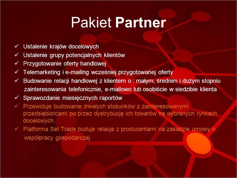 Pakiet Partner Ustalenie krajów docelowych Ustalenie grupy potencjalnych klientów Przygotowanie oferty handlowej Telemarketing i e-mailing wcześniej p