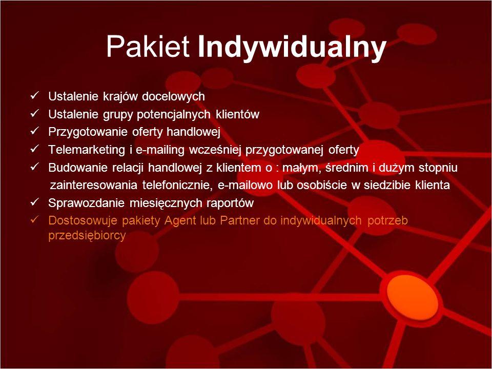 Pakiet Indywidualny Ustalenie krajów docelowych Ustalenie grupy potencjalnych klientów Przygotowanie oferty handlowej Telemarketing i e-mailing wcześn