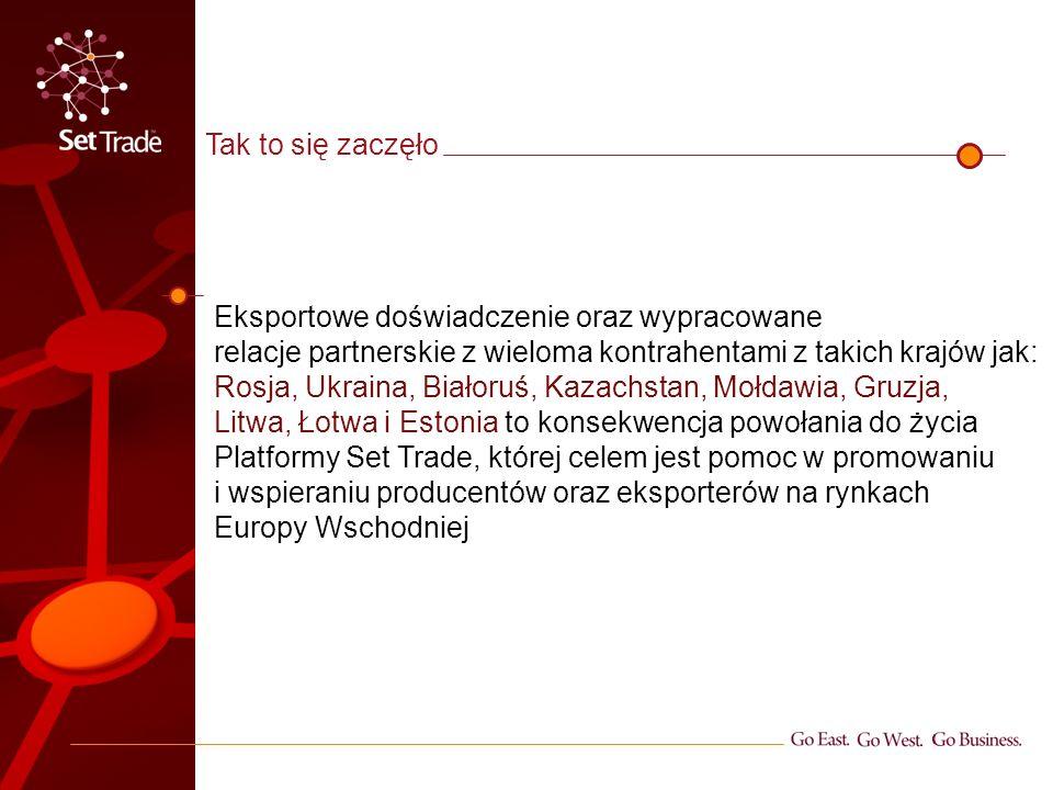 Obecnie na terenach Rosji, Ukrainy, Litwy, Łotwy i Estonii posiadamy własnych przedstawicieli handlowych, których zadaniem jest ciągła penetracja rynku oraz elastyczne reagowanie na jego zapotrzebowania Nasi pracownicy to obywatele wyżej przedstawionych regionów, co ułatwia nam budowanie relacji handlowych i tworzenie płaszczyzny wiarygodności, porozumienia i wzajemnego zaufania Aktualna sytuacja