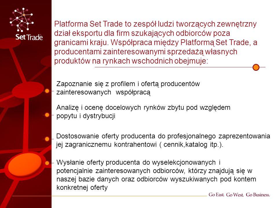 Zapoznanie się z profilem i ofertą producentów zainteresowanych współpracą Dostosowanie oferty producenta do profesjonalnego zaprezentowania jej zagranicznemu kontrahentowi ( cennik,katalog itp.).
