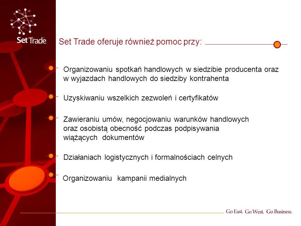 Set Trade oferuje również pomoc przy: Organizowaniu kampanii medialnych Organizowaniu spotkań handlowych w siedzibie producenta oraz w wyjazdach handlowych do siedziby kontrahenta Zawieraniu umów, negocjowaniu warunków handlowych oraz osobistą obecność podczas podpisywania wiążących dokumentów Uzyskiwaniu wszelkich zezwoleń i certyfikatów Działaniach logistycznych i formalnościach celnych