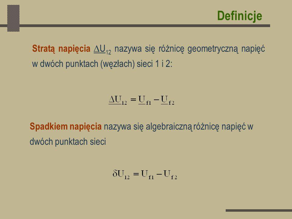 Definicje Stratą napięcia U 12 nazywa się różnicę geometryczną napięć w dwóch punktach (węzłach) sieci 1 i 2: Spadkiem napięcia nazywa się algebraiczn