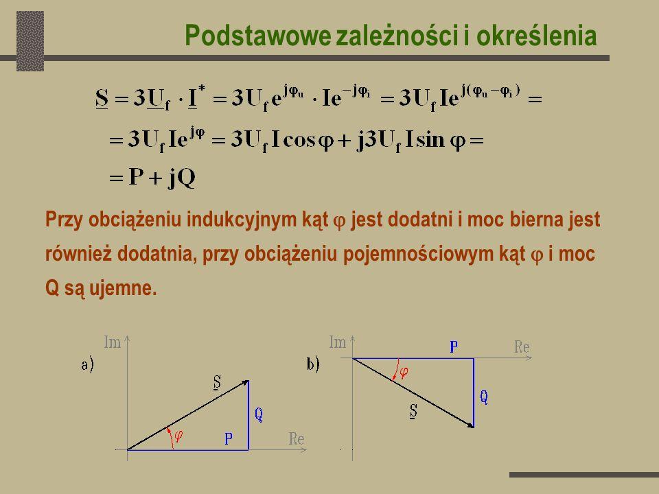 Prąd czynny I cz jest to rzut wektora prądu na kierunek, w którym położony jest wektor napięcia: I cz = I cos Prąd bierny I b jest to rzut wektora prądu na kierunek prostopadły do wektora napięcia: I b = I sin Składowa rzeczywista prądu I jest to rzut wektora prądu na kierunek osi rzeczywistych: I = I cos i Składowa urojona prądu I jest to rzut wektora prądu na kierunek osi urojonych I = I sin i Podstawowe zależności i określenia