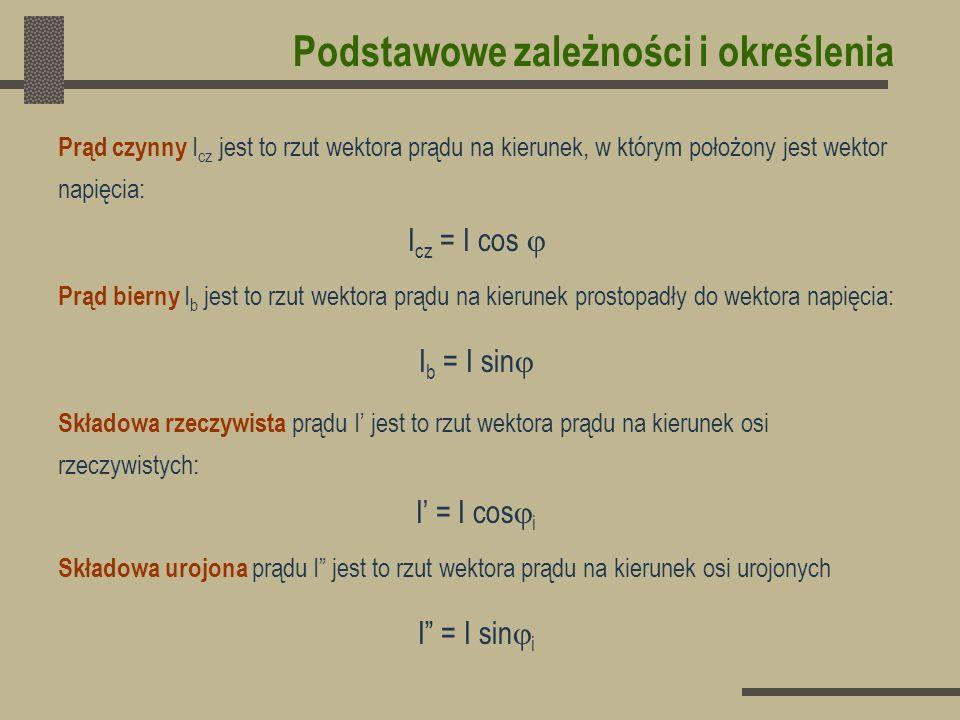 Jeżeli wektor napięcia położony jest w osi rzeczywistych, czyli U = U i = - i, wówczas składowa urojona prądu równa jest składowej biernej z przeciwnym znakiem: I = I - j I = I cos i – j I sin i = I cos(- ) - j I sin (- ) I = I cos i = I cos = I cz - I = - I sin i = I sin = I b
