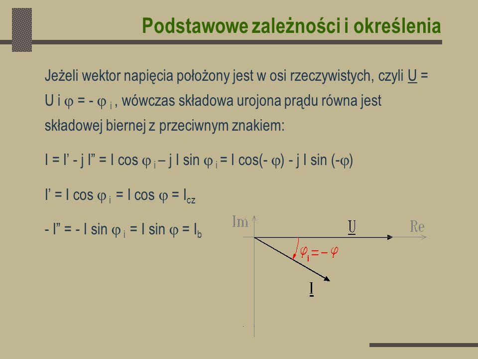 Podstawowe zależności i określenia Podsumowując: Przy obciążeniu indukcyjnym > 0,Q > 0,I < 0 Przy obciążeniu pojemnościowym 0