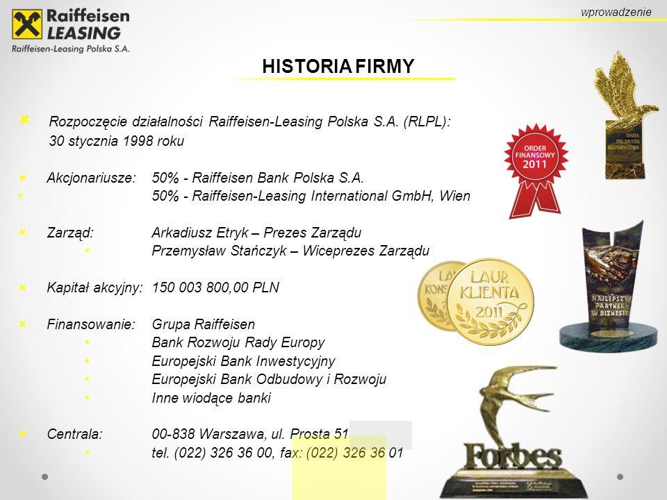 HISTORIA FIRMY Rozpoczęcie działalności Raiffeisen-Leasing Polska S.A. (RLPL): 30 stycznia 1998 roku Akcjonariusze: 50% - Raiffeisen Bank Polska S.A.