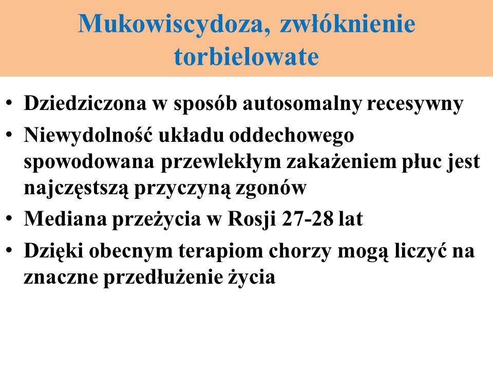 Mukowiscydoza, zwłóknienie torbielowate Dziedziczona w sposób autosomalny recesywny Niewydolność układu oddechowego spowodowana przewlekłym zakażeniem