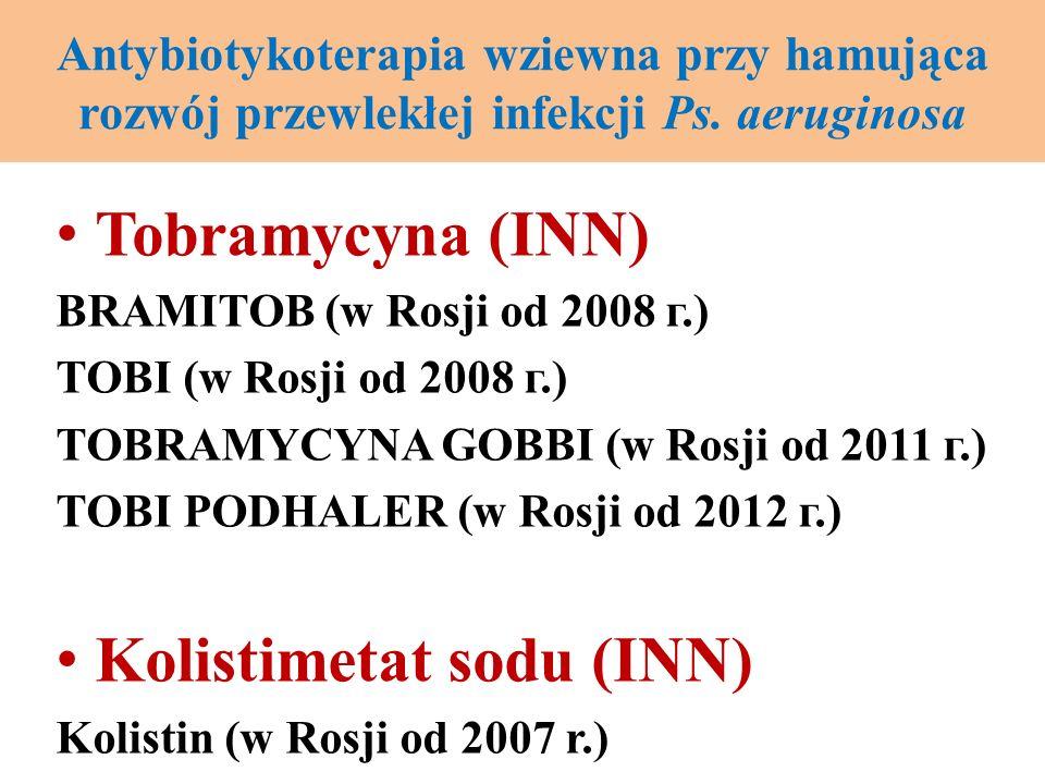 Antybiotykoterapia wziewna przy hamująca rozwój przewlekłej infekcji Ps. аeruginosa Tobramycyna (INN) BRAMITOB (w Rosji od 2008 г.) TOBI (w Rosji od 2